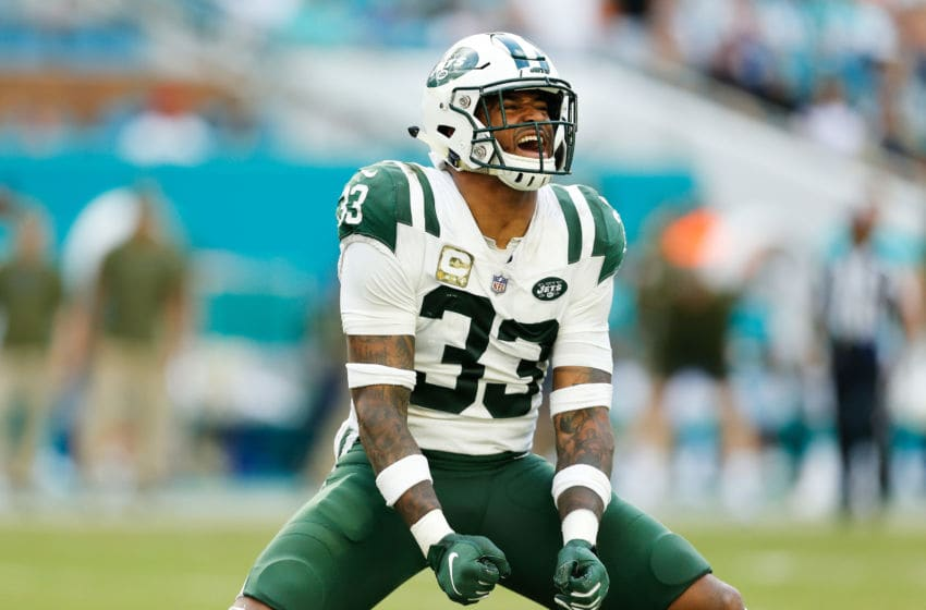 MIAMI, FL - NOVEMBER 04: Jamal Adams #33 of the New York Jets reacts in the fourth quarter of their game against the Miami Dolphins at Hard Rock Stadium on November 4, 2018 in Miami, Florida. (Photo by Michael Reaves/Getty Images)