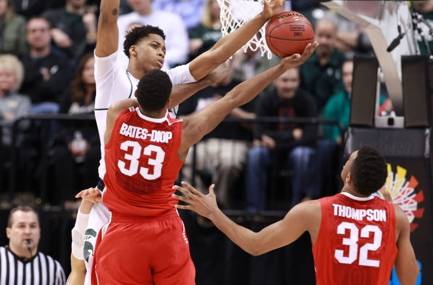 Mar 11, 2016; Indianapolis, IN, USA; Ohio State Buckeyes forward Keita Bates-Diop (33) has his shot blocked by Michigan State Spartans forward Deyonta Davis (23) during the Big Ten Conference tournament at Bankers Life Fieldhouse. Mandatory Credit: Brian Spurlock-USA TODAY Sports