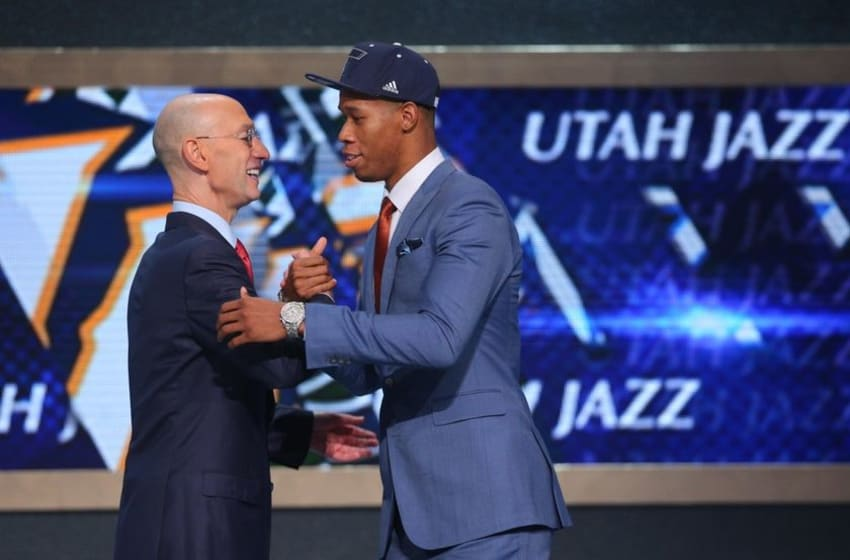 Jun 26, 2014; Brooklyn, NY, USA; Rodney Hood (Duke) shakes hands with NBA commissioner Adam Silver after being selected as the number twenty-three overall pick to the Utah Jazz in the 2014 NBA Draft at the Barclays Center. Mandatory Credit: Brad Penner-USA TODAY Sports