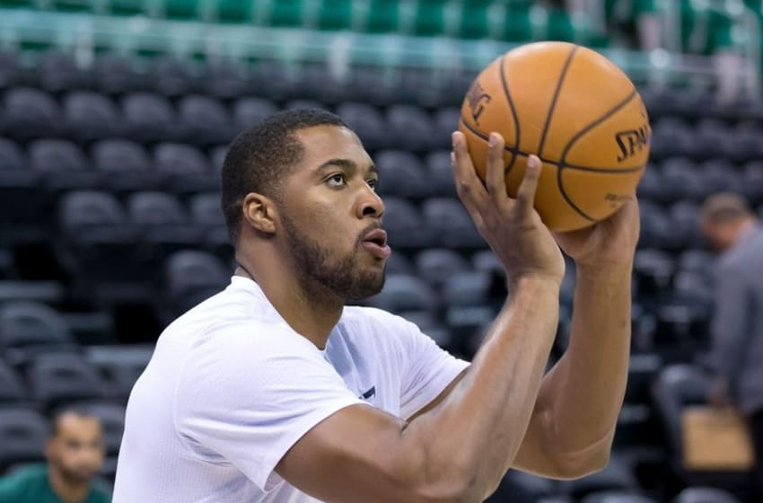 Oct 17, 2016; Salt Lake City, UT, USA; Utah Jazz forward Derrick Favors (15) warms up prior to the game against the Los Angeles Clippers at Vivint Smart Home Arena. Mandatory Credit: Russ Isabella-USA TODAY Sports