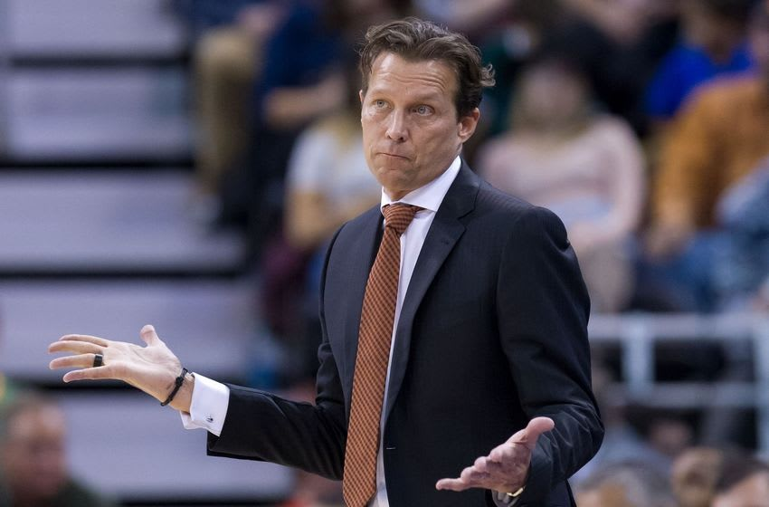 Oct 17, 2016; Salt Lake City, UT, USA; Utah Jazz head coach Quin Snyder reacts during the second half against the Los Angeles Clippers at Vivint Smart Home Arena. The Jazz won 104-78. Mandatory Credit: Russ Isabella-USA TODAY Sports