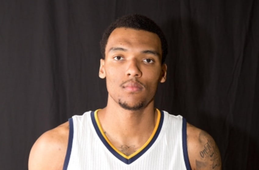 Sep 26, 2016; Salt Lake City, UT, USA; Utah Jazz forward Joel Bolomboy (21) during Media Day at Zion Bank Basketball Center. Mandatory Credit: Russ Isabella-USA TODAY Sports