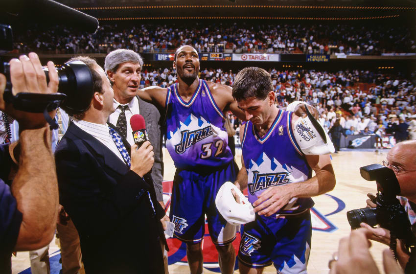 HOUSTON - MAY 29: Head Coach Jerry Sloan, Karl Malone. Mandatory Copyright Notice: Copyright 1997 NBAE (Photo by Glenn James/NBAE via Getty Images)