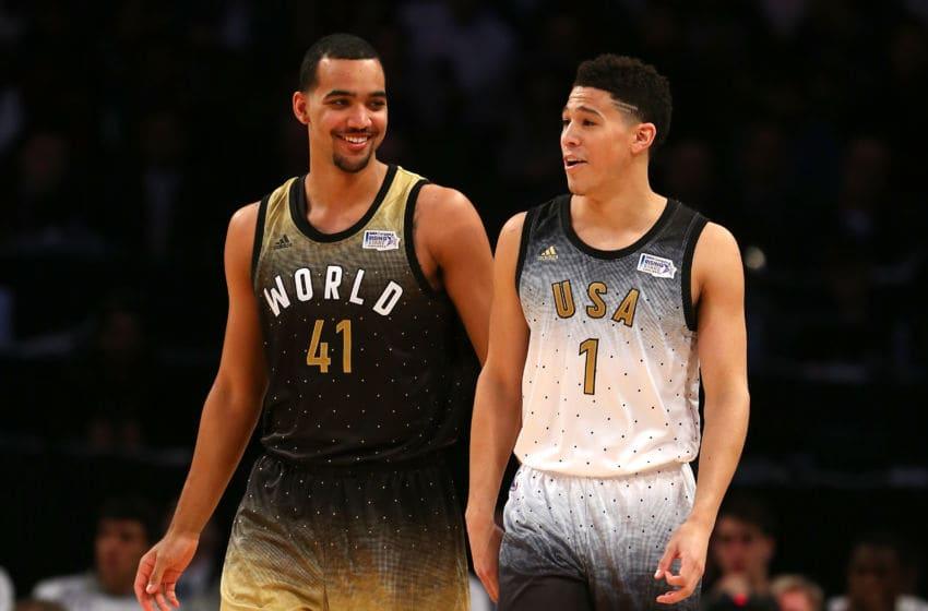 Trey Lyles, Utah Jazz, World team. Devin Booker, Phoenix Suns, United States team. (Photo by Elsa/Getty Images)
