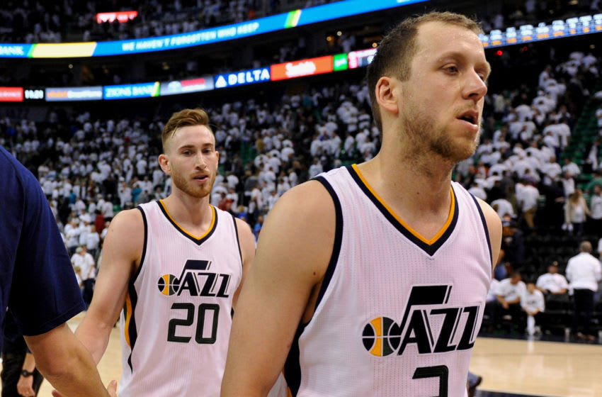 SALT LAKE CITY, UT - APRIL 28: Joe Ingles and Gordon Hayward of the Utah Jazz walk off the court after their 98-93 loss to LA Clippers in Game Six of the Western Conference Quarterfinals during the 2017 NBA Playoffs at Vivint Smart Home Arena on April 28, 2017 in Salt Lake City, Utah. (Photo by Gene Sweeney Jr/Getty Images)