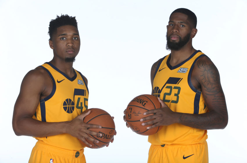 Donovan Mitchell, Royce O'Neale, Utah Jazz. Copyright 2018 NBAE (Photo by Melissa Majchrzak/NBAE via Getty Images)