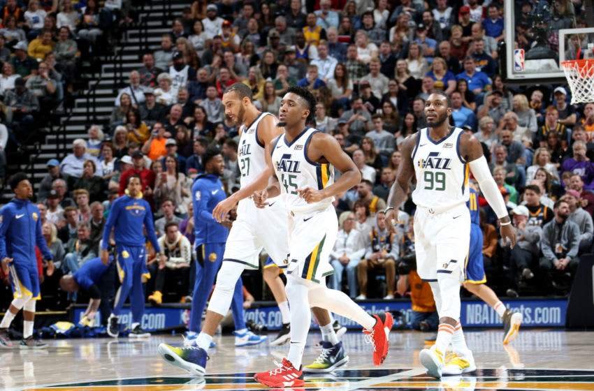 SALT LAKE CITY, UT - OCTOBER 19: The Utah Jazz look on during a game against the Golden State Warriors on October 19, 2018 at Vivint Smart Home Arena in Salt Lake City, Utah. NOTE TO USER: User expressly acknowledges and agrees that, by downloading and/or using this Photograph, user is consenting to the terms and conditions of the Getty Images License Agreement. Mandatory Copyright Notice: Copyright 2018 NBAE (Photo by Melissa Majchrzak/NBAE via Getty Images)