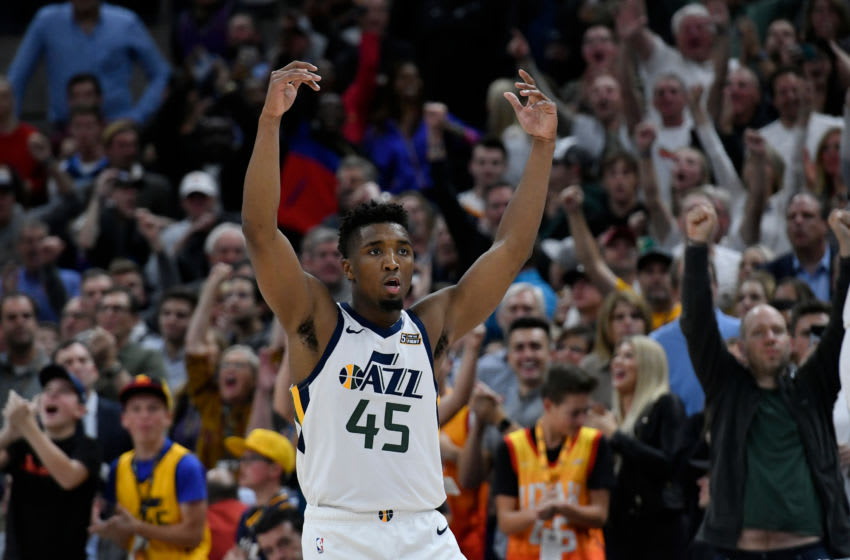 SALT LAKE CITY, UT - OCTOBER 19: Donovan Mitchell #45 of the Utah Jazz reacts to a late basket in the second half of a NBA game against the Golden State Warriors at Vivint Smart Home Arena on October 19, 2018 in Salt Lake City, Utah. NOTE TO USER: User expressly acknowledges and agrees that, by downloading and or using this photograph, User is consenting to the terms and conditions of the Getty Images License Agreement. (Photo by Gene Sweeney Jr./Getty Images)
