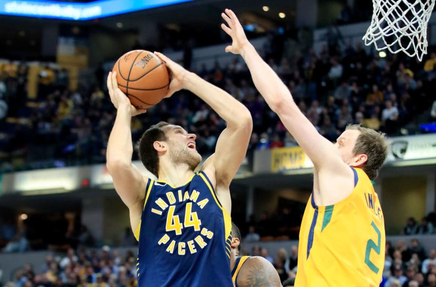 INDIANAPOLIS, IN - NOVEMBER 19: Bojan Bogdanovic #44 of the Indiana Pacers shoots the ball against the Utah Jazz at Bankers Life Fieldhouse on November 19, 2018 in Indianapolis, Indiana. (Photo by Andy Lyons/Getty Images)