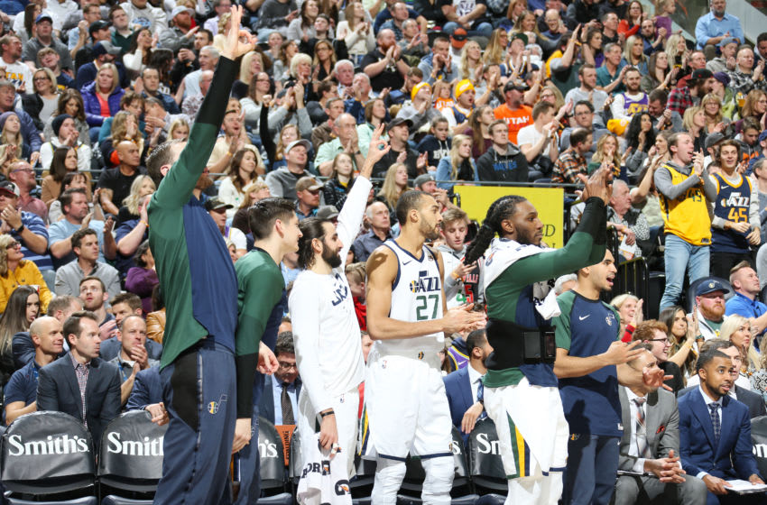 SALT LAKE CITY, UT - JANUARY 25: The Utah Jazz celebrate during the game against the Minnesota Timberwolves on January 25, 2019 at Vivint Smart Home Arena in Salt Lake City, Utah. NOTE TO USER: User expressly acknowledges and agrees that, by downloading and or using this Photograph, User is consenting to the terms and conditions of the Getty Images License Agreement. Mandatory Copyright Notice: Copyright 2019 NBAE (Photo by Melissa Majchrzak/NBAE via Getty Images)
