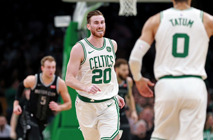 BOSTON, MA. - FEBRUARY 13: Gordon Hayward #20 of the Boston Celtics after sinking two during the second quarter of the NBA game against the Detroit Pistons at the TD Garden on February 13, 2019 in Boston, Massachusetts. (Staff Photo By Matt Stone/MediaNews Group/Boston Herald via Getty Images)