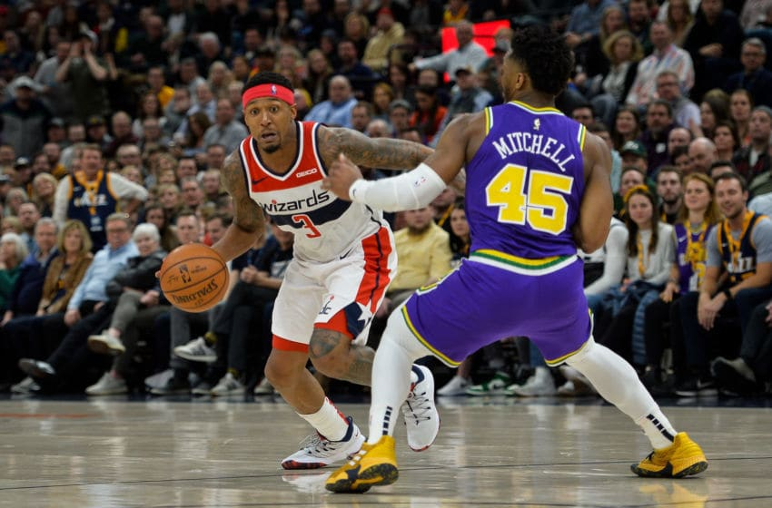 SALT LAKE CITY, UT - MARCH 29: Bradley Beal #3 of the Washington Wizards attempts to drive past Donovan Mitchell #45 of the Utah Jazz during a game at Vivint Smart Home Arena on March 29, 2019 in Salt Lake City, Utah. NOTE TO USER: User expressly acknowledges and agrees that, by downloading and or using this photograph, User is consenting to the terms and conditions of the Getty Images License Agreement. (Photo by Alex Goodlett/Getty Images)