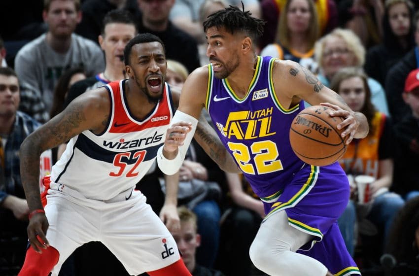 SALT LAKE CITY, UT - MARCH 29: Thabo Sefolosha #22 of the Utah Jazz attempts to drive past Jordan McRae #52 of the Washington Wizards during a game at Vivint Smart Home Arena on March 29, 2019 in Salt Lake City, Utah. (Photo by Alex Goodlett/Getty Images)