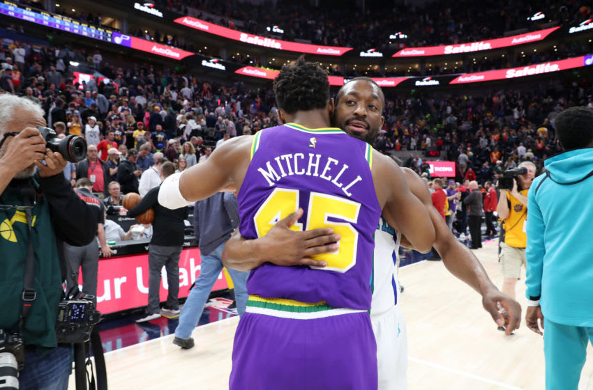 SALT LAKE CITY, UT - APRIL 1: Kemba Walker #15 of the Charlotte Hornets and Donovan Mitchell #45 of the Utah Jazz embrace following the game on April 1, 2019 at Vivint Smart Home Arena in Salt Lake City, Utah. NOTE TO USER: User expressly acknowledges and agrees that, by downloading and or using this Photograph, User is consenting to the terms and conditions of the Getty Images License Agreement. Mandatory Copyright Notice: Copyright 2019 NBAE (Photo by Melissa Majchrzak/NBAE via Getty Images)