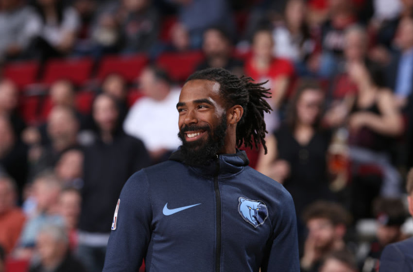 PORTLAND, OR - APRIL 3: Mike Conley #11 of the Memphis Grizzlies looks on during the game against the Portland Trail Blazers on April 3, 2019 at the Moda Center in Portland, Oregon. Copyright 2019 NBAE (Photo by Sam Forencich/NBAE via Getty Images)