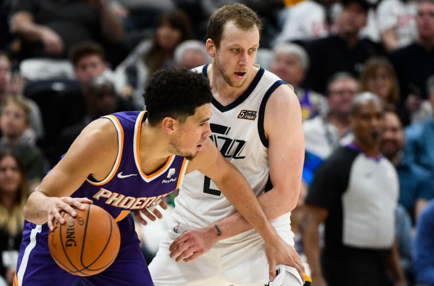 Devin Booker, Phoenix Suns. Joe Ingles, Utah Jazz. (Photo by Alex Goodlett/Getty Images)
