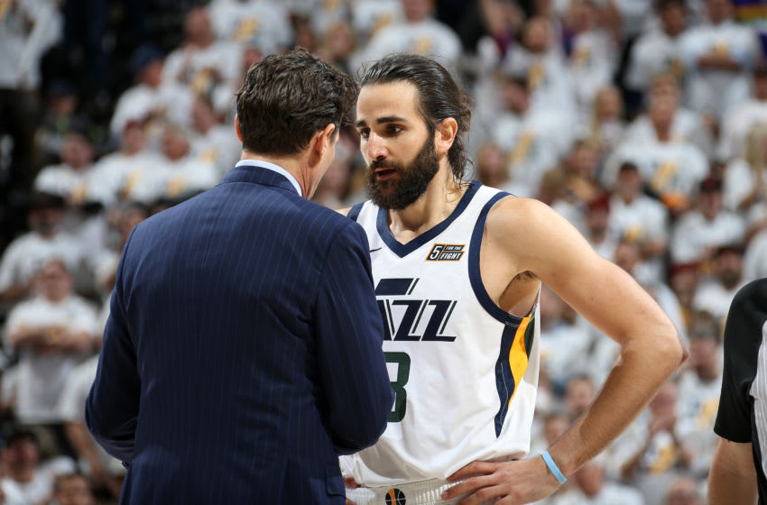 SALT LAKE CITY, UT - APRIL 22: Head Coach Quin Snyder and Ricky Rubio #3 of the Utah Jazz talk during Game Four of Round One of the 2019 NBA Playoffs against the Houston Rockets on April 22, 2019 at vivint.SmartHome Arena in Salt Lake City, Utah. NOTE TO USER: User expressly acknowledges and agrees that, by downloading and/or using this photograph, user is consenting to the terms and conditions of the Getty Images License Agreement. Mandatory Copyright Notice: Copyright 2019 NBAE (Photo by Melissa Majchrzak/NBAE via Getty Images)