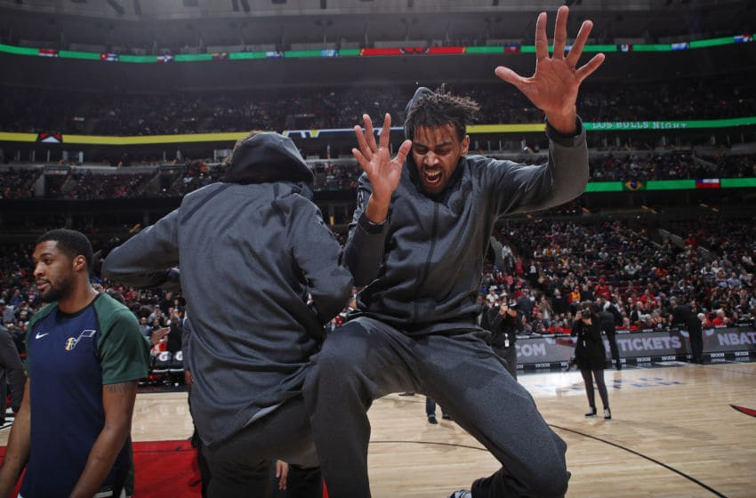 CHICAGO, IL - MARCH 23: Thabo Sefolosha #22 of the Utah Jazz reacts prior to a game against the Chicago Bulls on March 23, 2019 at United Center in Chicago, Illinois. Copyright 2019 NBAE (Photo by Jeff Haynes/NBAE via Getty Images)