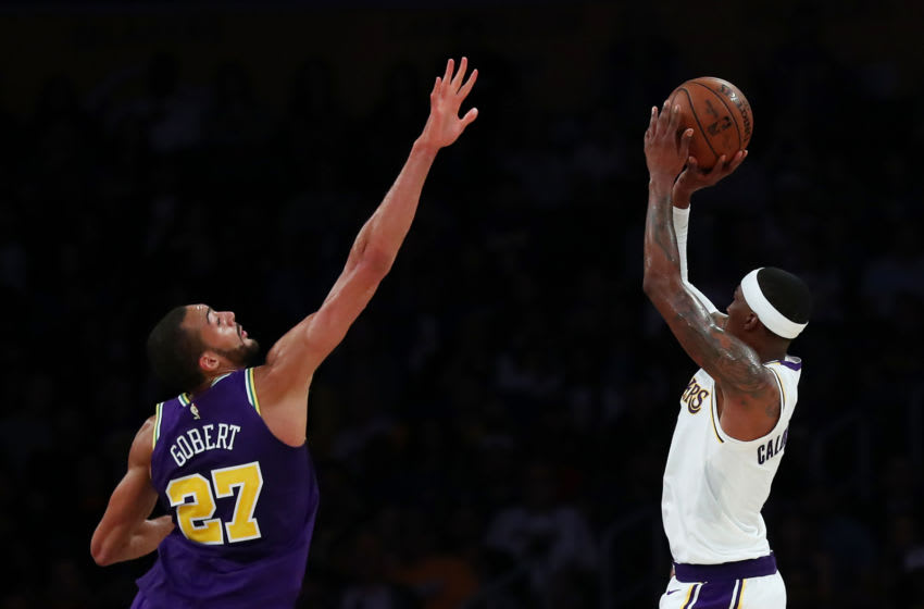 LOS ANGELES, CALIFORNIA - APRIL 07: Kentavious Caldwell-Pope #1 of the Los Angeles Lakers shoots the ball against Rudy Gobert #27 of the Utah Jazz during the fourth quarter at Staples Center on April 07, 2019 in Los Angeles, California. (Photo by Yong Teck Lim/Getty Images)