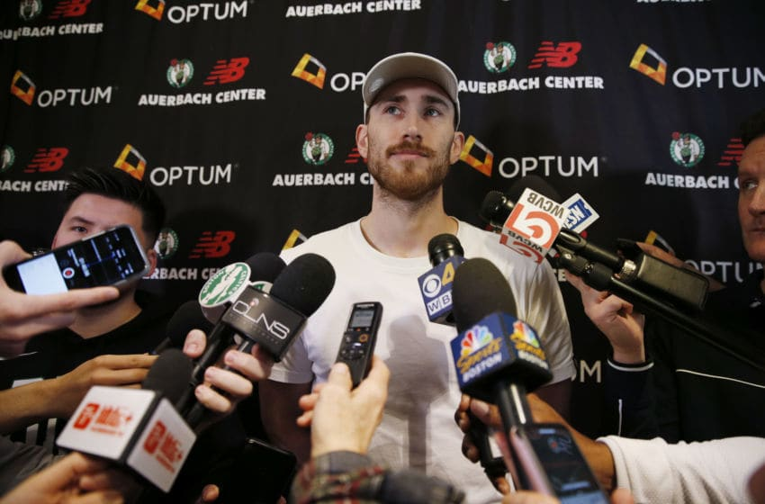 BOSTON - MAY 9: Boston Celtics' Gordon Hayward speaks to reporters at the Auerbach Center in the Brighton neighborhood of Boston on May 9, 2019. Celtics players are cleaning out their lockers following their elimination at the hands of the Milwaukee Bucks in the NBA Eastern Conference Semi-Finals the previous night. (Photo by Jessica Rinaldi/The Boston Globe via Getty Images)