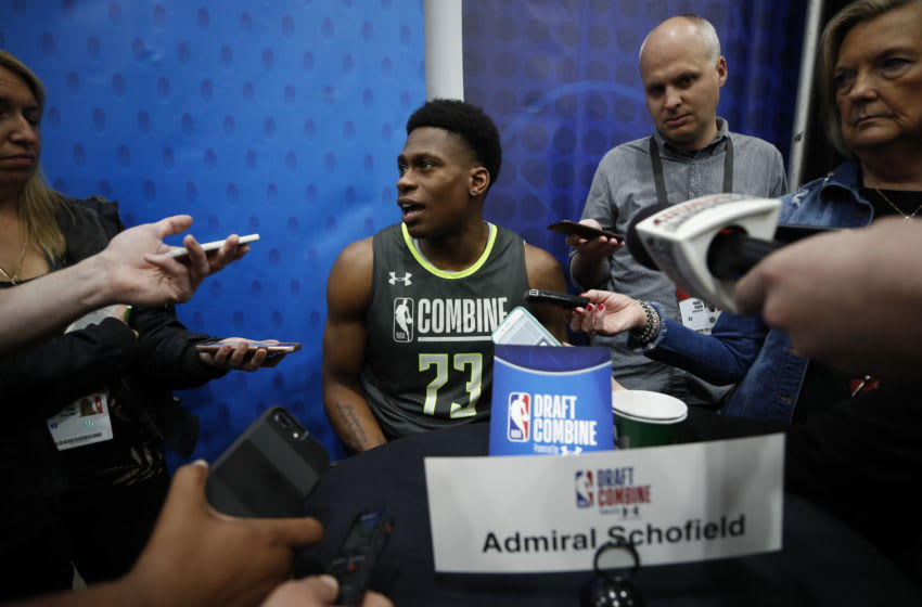 CHICAGO, IL - MAY 16: Admiral Schofield speaks to the media during Day One of the 2019 NBA Draft Combine on May 16, 2019 at the Quest MultiSport Complex in Chicago, Illinois. Copyright 2019 NBAE (Photo by Jeff Haynes/NBAE via Getty Images)