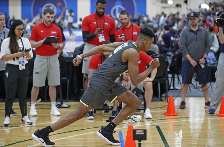 CHICAGO, IL - MAY 16: KZ Okpala #66 runs during Day One of the 2019 NBA Draft Combine on May 16, 2019 at the Quest MultiSport Complex in Chicago, Illinois. Copyright 2019 NBAE (Photo by Jeff Haynes/NBAE via Getty Images)