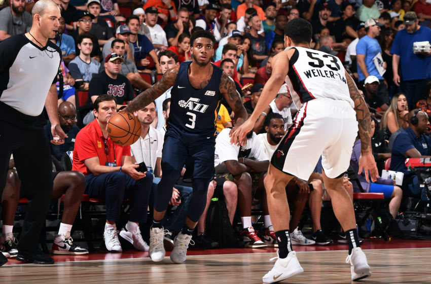 Las Vegas, NV - JULY 7: Justin Wright-Foreman #3 of the Utah Jazz handles the ball during the game against the Miami Heat during Day 3 of the 2019 Las Vegas Summer League on July 7, 2019 at the Cox Pavilion in Las Vegas, Nevada. Copyright 2019 NBAE (Photo by David Dow/NBAE via Getty Images)