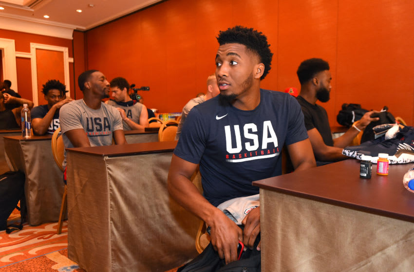 LAS VEGAS, NV - AUGUST 8: Donovan Mitchell looks on during the 2019 USA Basketball Men's National Team Training Camp at Mendenhall Center on the University of Nevada, Las Vegas Campus in Las Vegas Nevada. Copyright 2019 NBAE (Andrew D. Bernstein/NBAE via Getty Images)
