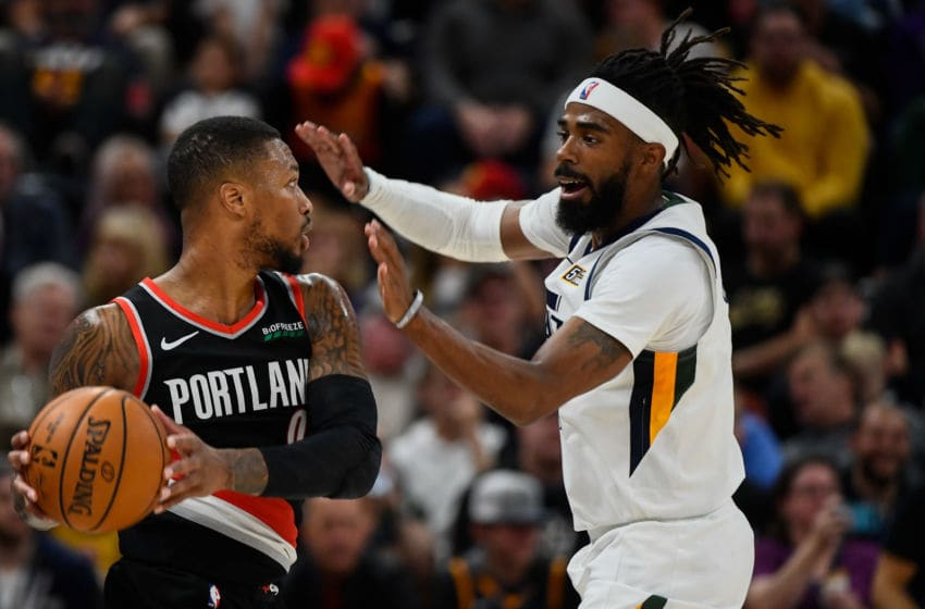 Mike Conley, Utah Jazz. Damian Lillard, Portland Trail-Blazers. (Photo by Alex Goodlett/Getty Images)
