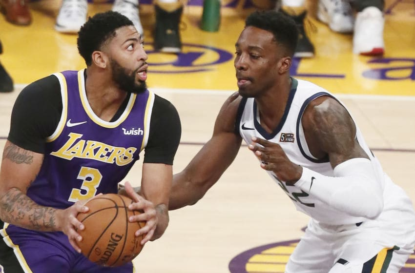 LOS ANGELES, CA - OCTOBER 25: Anthony Davis #3 of the Los Angeles Lakers handles the ball against the Utah Jazz on October 25, 2019 at STAPLES Center in Los Angeles, California. NOTE TO USER: User expressly acknowledges and agrees that, by downloading and/or using this Photograph, user is consenting to the terms and conditions of the Getty Images License Agreement. Mandatory Copyright Notice: Copyright 2019 NBAE (Photo by Chris Elise/NBAE via Getty Images)