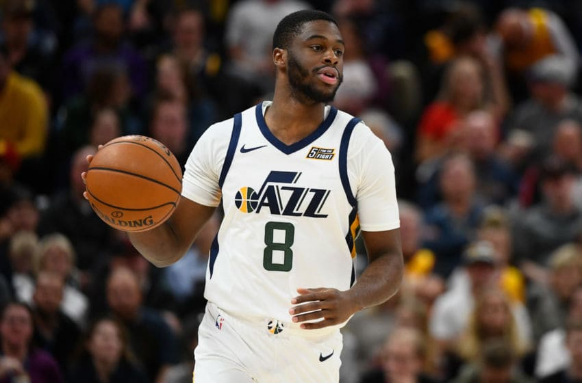 SALT LAKE CITY, UT - OCTOBER 16: Emmanuel Mudiay #8 of the Utah Jazz in action during a preseason game against the Portland Trail Blazers at Vivint Smart Home Arena on October 16, 2019 in Salt Lake City, Utah. NOTE TO USER: User expressly acknowledges and agrees that, by downloading and or using this photograph, User is consenting to the terms and conditions of the Getty Images License Agreement. (Photo by Alex Goodlett/Getty Images)
