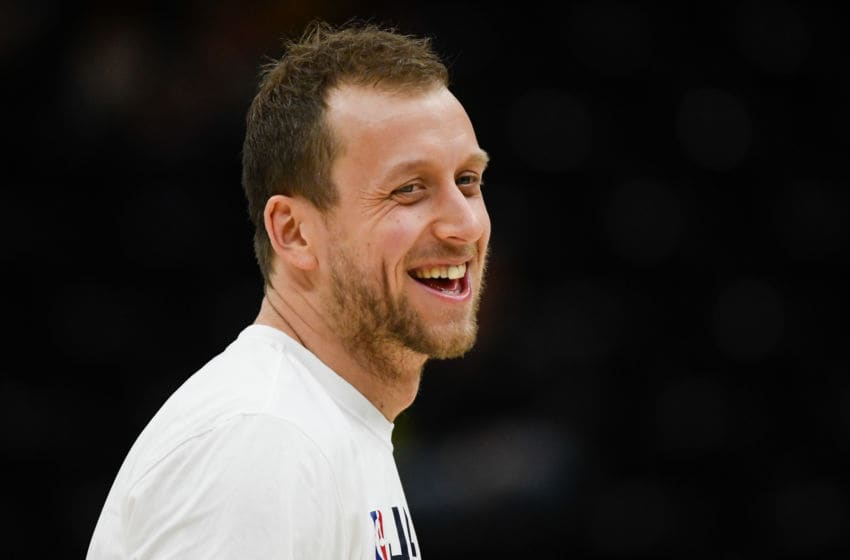 SALT LAKE CITY, UT - NOVEMBER 18: Joe Ingles #2 of the Utah Jazz smiles before a game against the Minnesota Timberwolves at Vivint Smart Home Arena on November 18, 2019 in Salt Lake City, Utah. NOTE TO USER: User expressly acknowledges and agrees that, by downloading and/or using this photograph, user is consenting to the terms and conditions of the Getty Images License Agreement. (Photo by Alex Goodlett/Getty Images)