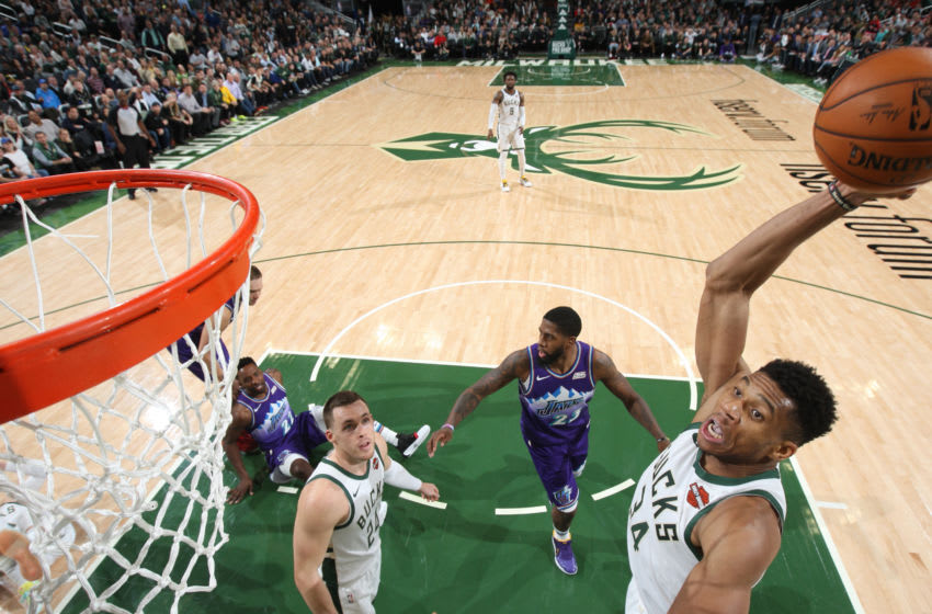 MILWAUKEE, WI - NOVEMBER 25: Giannis Antetokounmpo #34 of the Milwaukee Bucks dunks the ball against the Utah Jazz on November 25, 2019 at the Fiserv Forum Center in Milwaukee, Wisconsin. Copyright 2019 NBAE (Photo by Gary Dineen/NBAE via Getty Images).