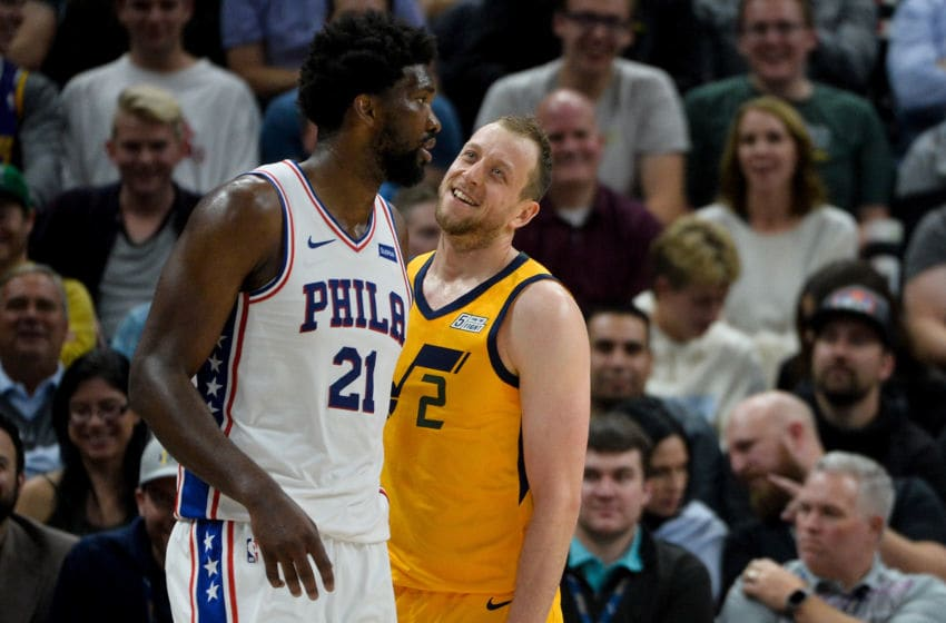 SALT LAKE CITY, UT - NOVEMBER 06: Joe Ingles #2 of the Utah Jazz speaks to Joel Embiid #21 of the Philadelphia 76ers during a game at Vivint Smart Home Arena on November 6, 2019 in Salt Lake City, Utah. NOTE TO USER: User expressly acknowledges and agrees that, by downloading and/or using this photograph, user is consenting to the terms and conditions of the Getty Images License Agreement. (Photo by Alex Goodlett/Getty Images)