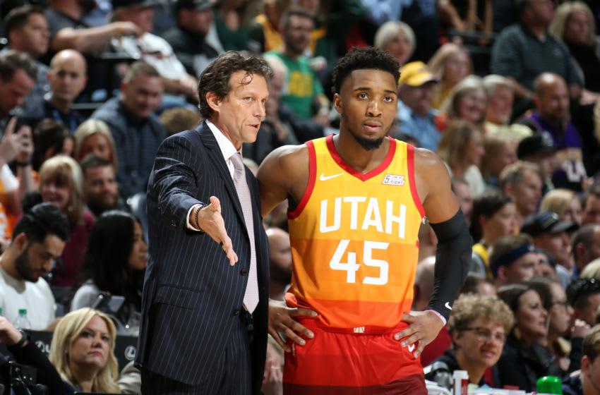 Donovan Mitchell, Utah Jazz. Copyright 2019 NBAE (Photo by Melissa Majchrzak/NBAE via Getty Images)