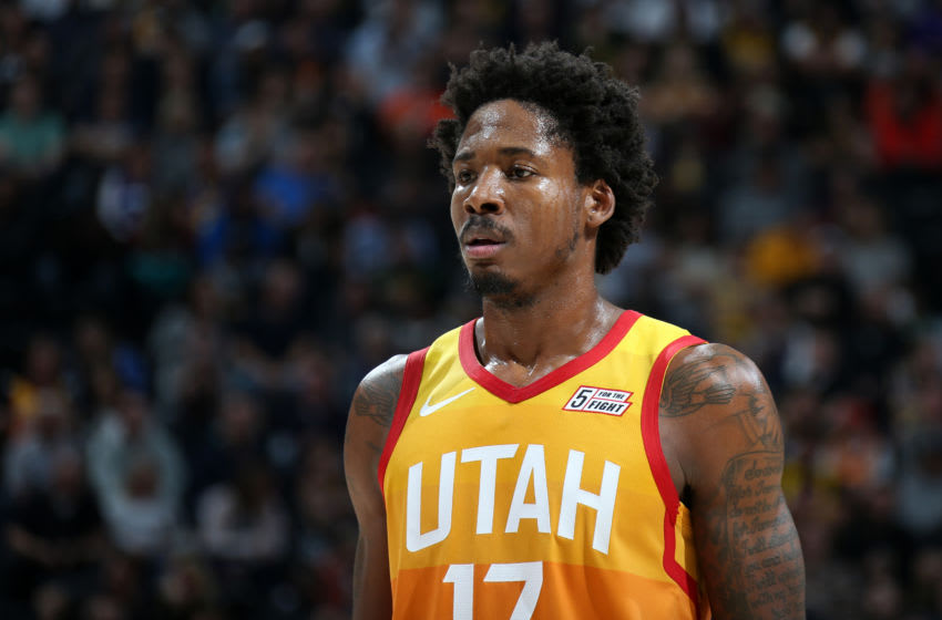 SALT LAKE CITY, UT - DECEMBER 4: Ed Davis #17 of the Utah Jazz looks on during the game against the Los Angeles Lakers on December 4, 2019 at vivint.SmartHome Arena in Salt Lake City, Utah. NOTE TO USER: User expressly acknowledges and agrees that, by downloading and or using this Photograph, User is consenting to the terms and conditions of the Getty Images License Agreement. Mandatory Copyright Notice: Copyright 2019 NBAE (Photo by Melissa Majchrzak/NBAE via Getty Images)