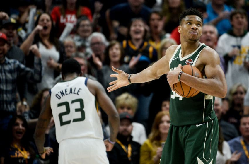 SALT LAKE CITY, UT - NOVEMBER 08: Giannis Antetokounmpo #34 of the Milwaukee Bucks in action during a game against the Utah Jazz at Vivint Smart Home Arena on November 8, 2019 in Salt Lake City, Utah. NOTE TO USER: User expressly acknowledges and agrees that, by downloading and/or using this photograph, user is consenting to the terms and conditions of the Getty Images License Agreement. (Photo by Alex Goodlett/Getty Images)