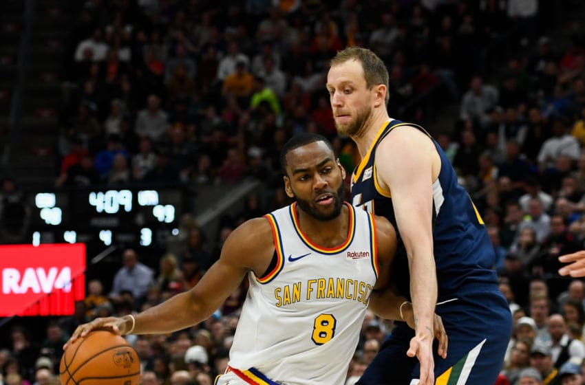 Joe Ingles, Utah Jazz. Alec Burks, Golden State Warriors. (Photo by Alex Goodlett/Getty Images)