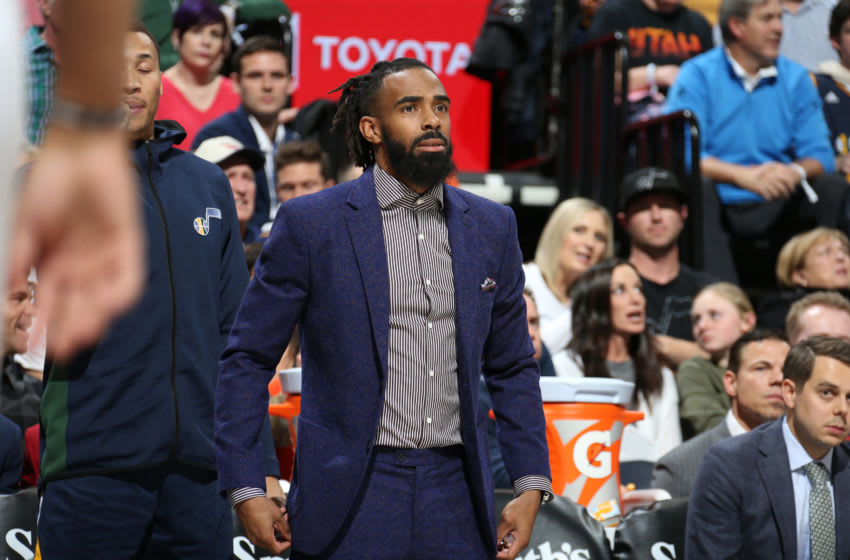 Mike Conley, Utah Jazz. Copyright 2019 NBAE (Photo by Melissa Majchrzak/NBAE via Getty Images)