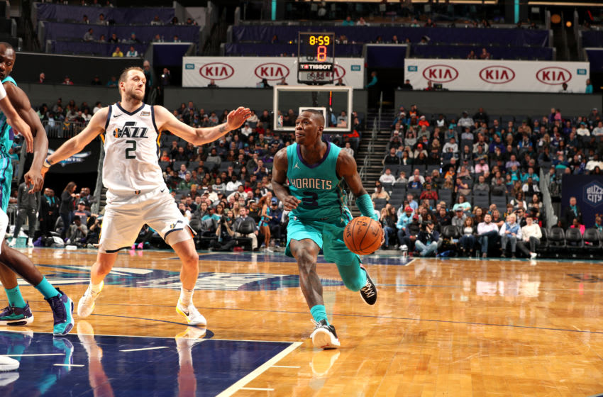 CHARLOTTE, NC - DECEMBER 21: Terry Rozier #3 of the Charlotte Hornets handles the ball during a game against the Utah Jazz on December 21, 2019 at Spectrum Center in Charlotte, North Carolina. NOTE TO USER: User expressly acknowledges and agrees that, by downloading and or using this photograph, User is consenting to the terms and conditions of the Getty Images License Agreement. Mandatory Copyright Notice: Copyright 2019 NBAE (Photo by Kent Smith/NBAE via Getty Images)