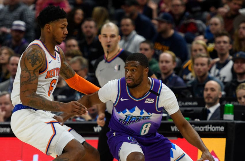 Emmanuel Mudiay, Utah Jazz. Elfrid Payton, New York Knicks. (Photo by Alex Goodlett/Getty Images)