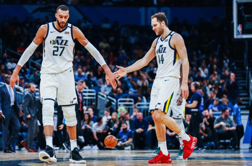 Rudy Gobert, Bojan Bogdanović, Utah Jazz. (Photo by Harry Aaron/Getty Images)