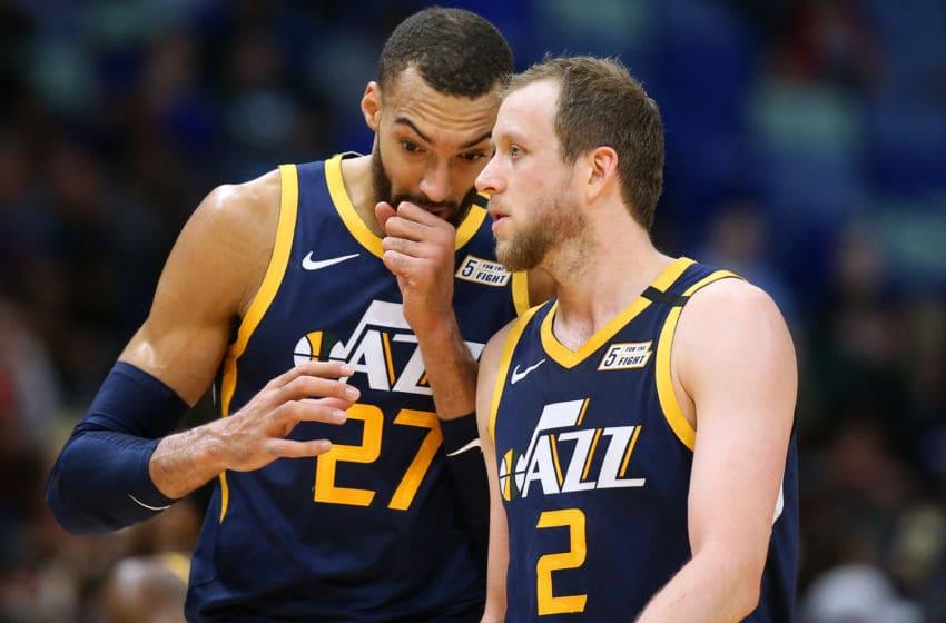 Rudy Gobert, Joe Ingles, Utah Jazz. (Photo by Jonathan Bachman/Getty Images)