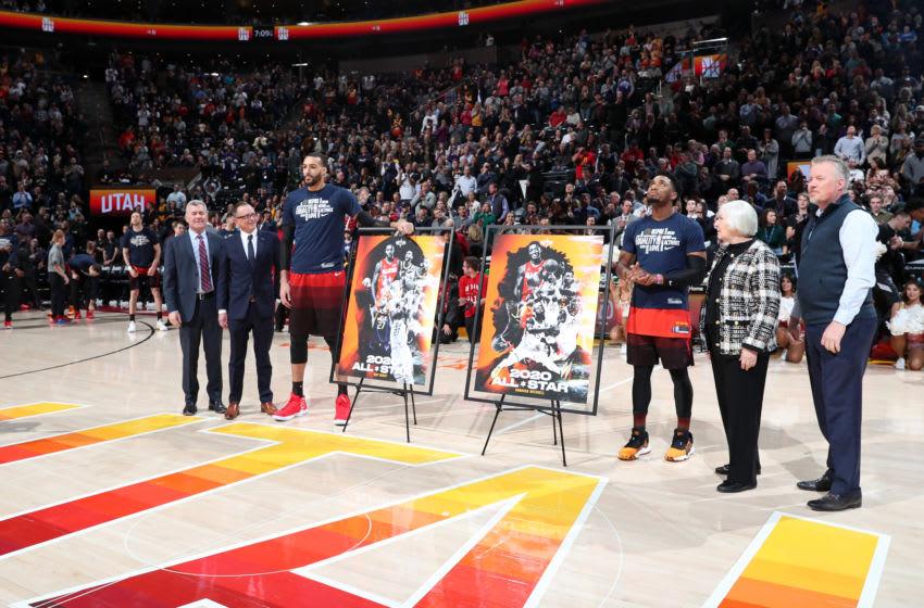 Rudy Gobert and Donovan Mitchell, Utah Jazz. (Photo by Melissa Majchrzak/NBAE via Getty Images)