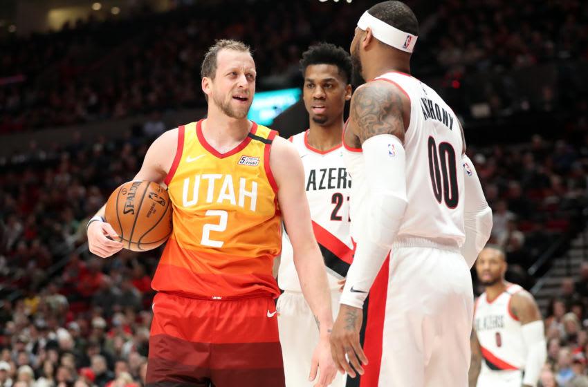 Carmelo Anthony, Portland Trail-Blazers. Joe Ingles, Utah Jazz. (Photo by Abbie Parr/Getty Images)