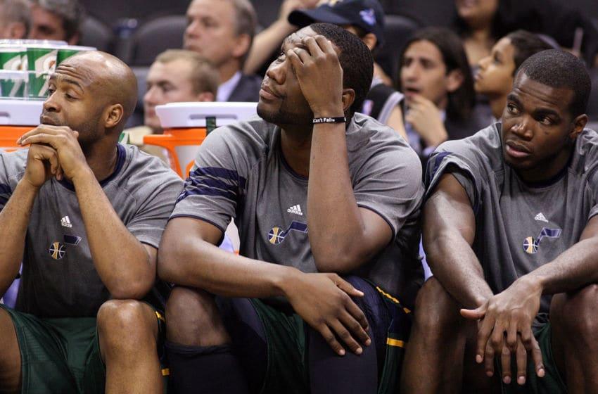 Al Jefferson, Paul Millsap, Jamaal Tinsley, Utah Jazz (Photo by Ronald Martinez/Getty Images)