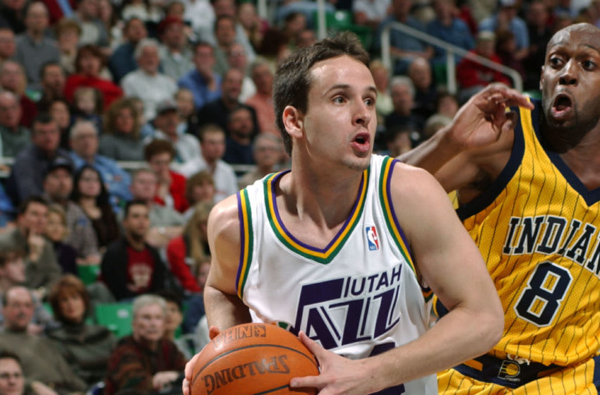 SALT LAKE CITY - MARCH 5: Raul Lopez #24 of the Utah Jazz drives to the basket against the Indiana Pacers on March 5, 2004 at the Delta Center in Salt Lake City, Utah. (Photo By Kent Horner/NBAE via Getty Images)