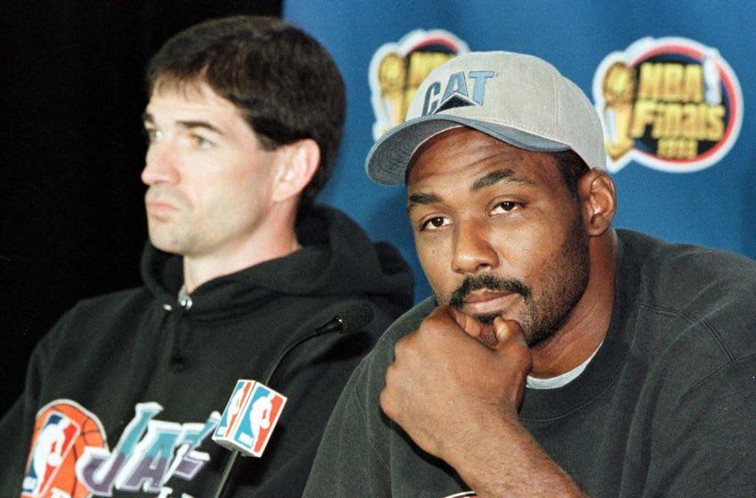 John Stockton, Karl Malone, Utah Jazz. (Photo credit should read JEFF HAYNES/AFP via Getty Images)