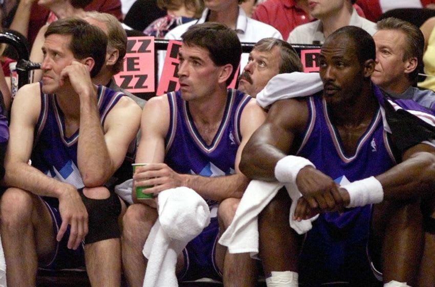 Karl Malone, Jeff Hornacek, John Stockton, Utah Jazz. (Photo credit should read ROBERT SULLIVAN/AFP via Getty Images)