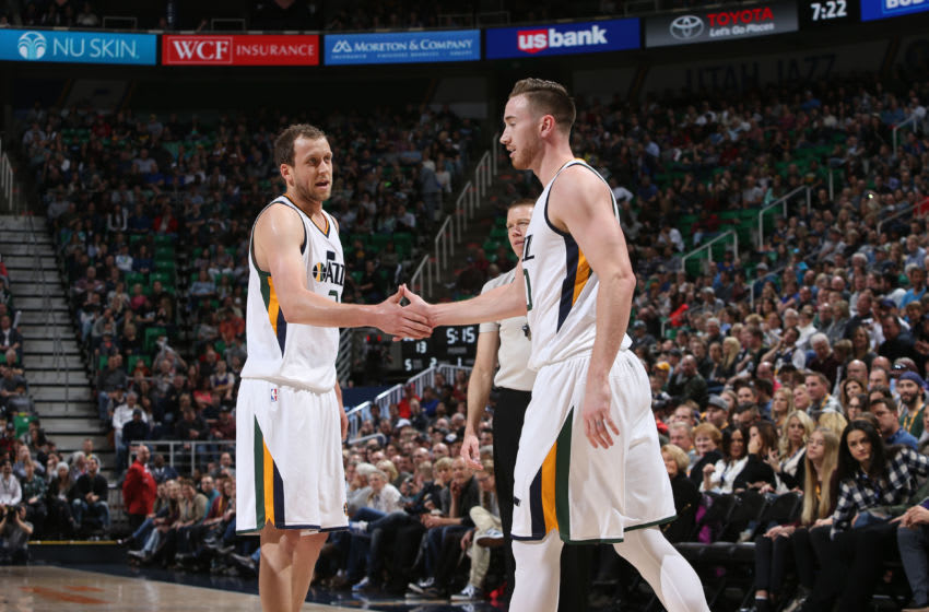 SALT LAKE CITY, UT - JANUARY 21: Gordon Hayward #20 and Joe Ingles #2 of the Utah Jazz high-five during a game against the Indiana Pacers on January 21, 2017 at vivint.SmartHome Arena in Salt Lake City, Utah. Copyright 2017 NBAE (Photo by Melissa Majchrzak/NBAE via Getty Images)